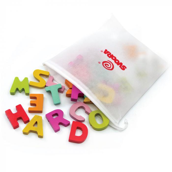 """Puzzle Alfabet Litere Mari Din Lemn Plus 50 Flash Carduri """" Primele Mele Cuvinte In Limba Engleza"""" 2"""