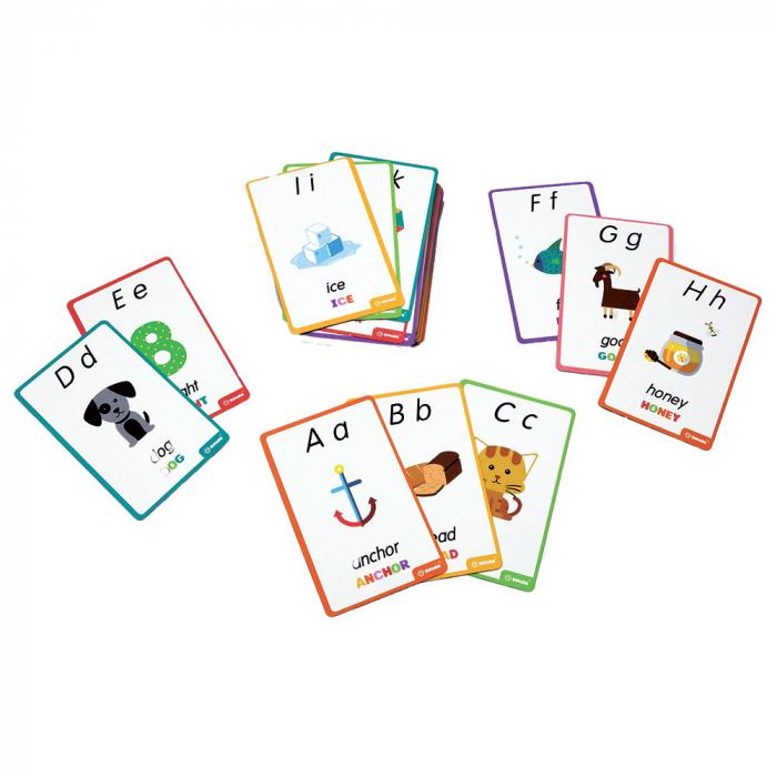 """Puzzle Alfabet Litere Mari Din Lemn Plus 50 Flash Carduri """" Primele Mele Cuvinte In Limba Engleza"""" 3"""