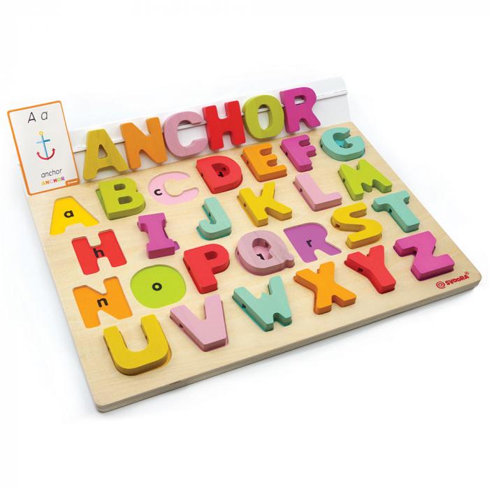 """Puzzle Alfabet Litere Mari Din Lemn Plus 50 Flash Carduri """" Primele Mele Cuvinte In Limba Engleza"""" 0"""