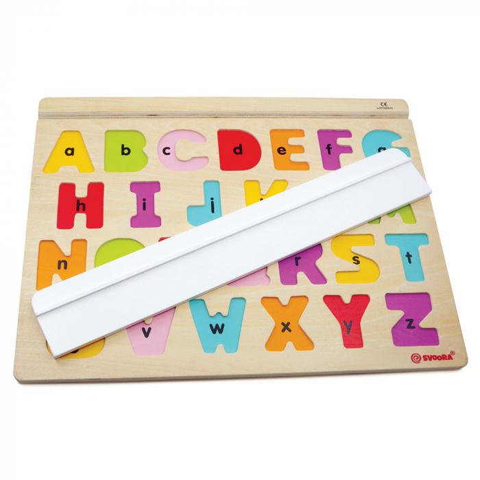 """Puzzle Alfabet Litere Mari Din Lemn Plus 50 Flash Carduri """" Primele Mele Cuvinte In Limba Engleza"""" 1"""
