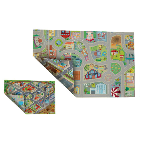 Covoras de joaca pentru copii fata-verso Oras si District 100 x 150 cm Achoka 1