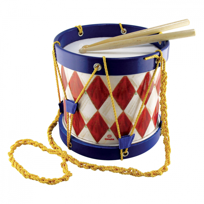 Toba Multicolora Copii - Big Marching Drum, 2 Bete Lemn 0