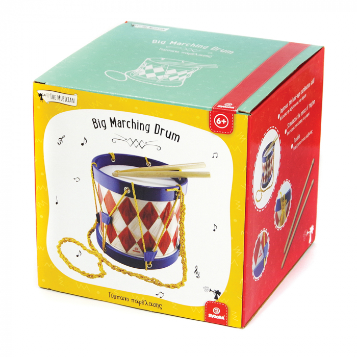 Toba Multicolora Copii - Big Marching Drum, 2 Bete Lemn 3