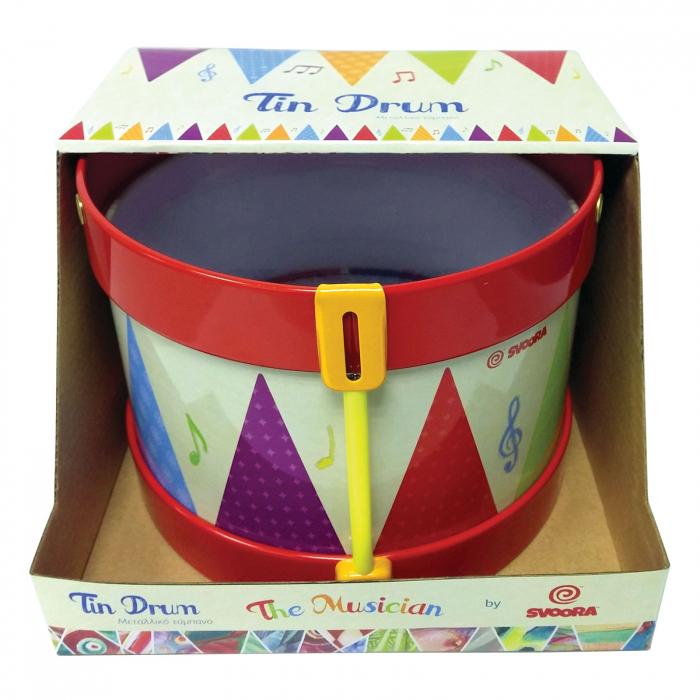 Toba Multicolora Copii - Tin Drum, 2 Bete Lemn 2