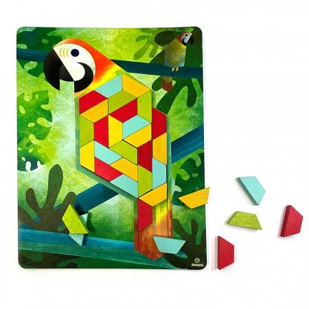 Joc educativ Tangram cu 80 piese din lemn si 4 planse cu model Svoora [1]