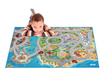 Covor de joaca pentru copii cu stradute model Seaside dimensiuni 100 x 150 cm2