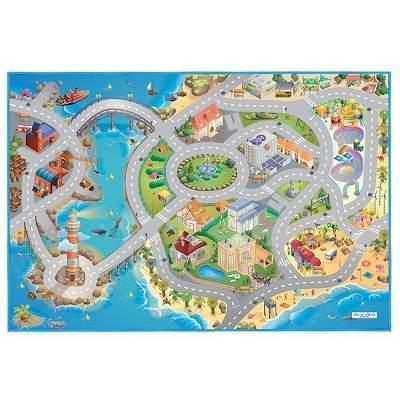 Covor de joaca pentru copii cu stradute model Seaside dimensiuni 100 x 150 cm0