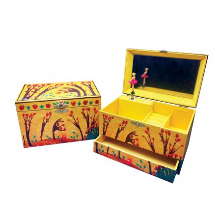 Cutiuta muzicala pentru bijuterii cu suport inele si sertar 'Forest Dance' [2]