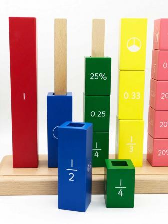 Joc matematic Turnul Fractiilor din lemn, 39 piese1