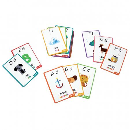 """Puzzle Alfabet Litere Mari Din Lemn Plus 50 Flash Carduri """" Primele Mele Cuvinte In Limba Engleza""""3"""