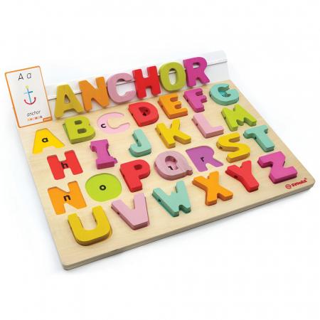 """Puzzle Alfabet Litere Mari Din Lemn Plus 50 Flash Carduri """" Primele Mele Cuvinte In Limba Engleza""""0"""