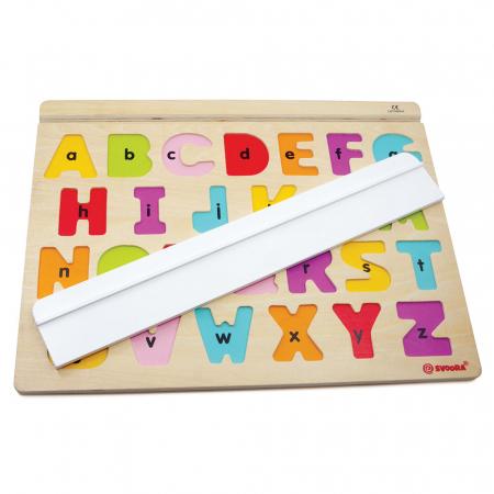 """Puzzle Alfabet Litere Mari Din Lemn Plus 50 Flash Carduri """" Primele Mele Cuvinte In Limba Engleza""""1"""