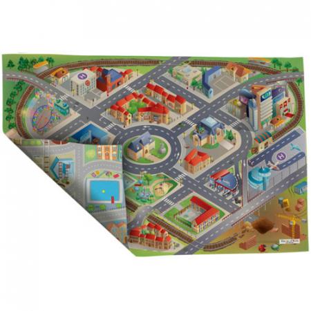 Covoras de joaca pentru copii fata-verso Oras si District 100 x 150 cm0
