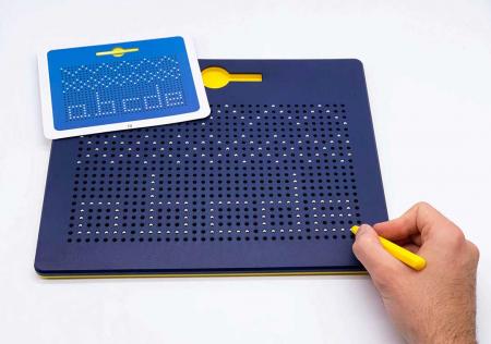 Tabla albastra cu bile si creion magnetic Magnepad pentru pregatirea scrisului3
