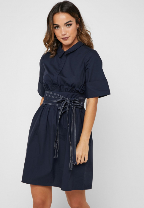 Rochie Tie Side Shirt Dress with Collar [0]