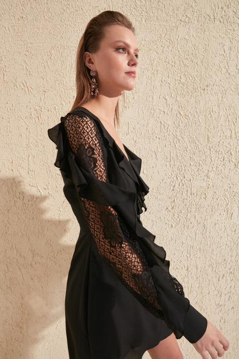 Rochie Black Lace Sleeve Detailed [1]