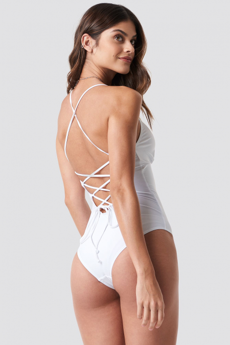 Lacing Open Back Swimsuit 1