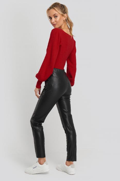 Pantaloni Front Detail Seam Pu [3]