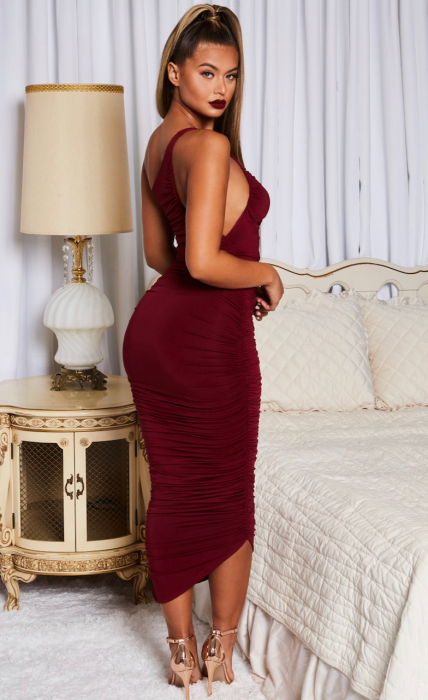 Rochie Cold Shoulder Asymmetric Ruched Midaxi 1