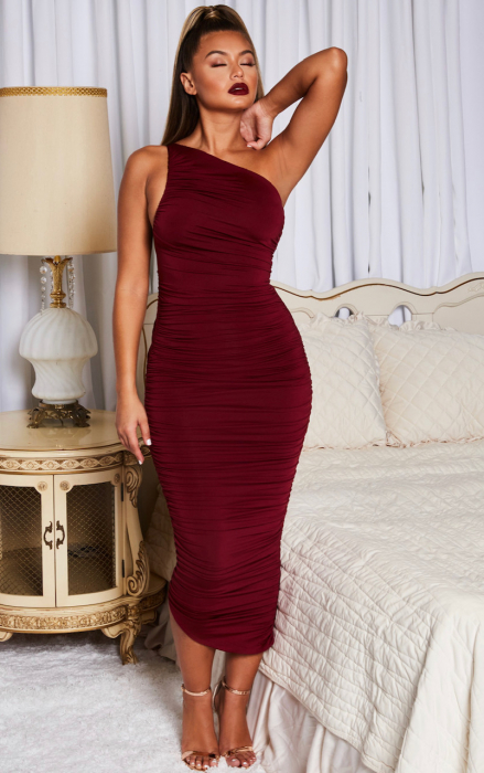 Rochie Cold Shoulder Asymmetric Ruched Midaxi 5