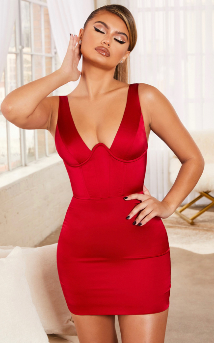 Rochie Steal Your Heart Underwired Satin Mini 4