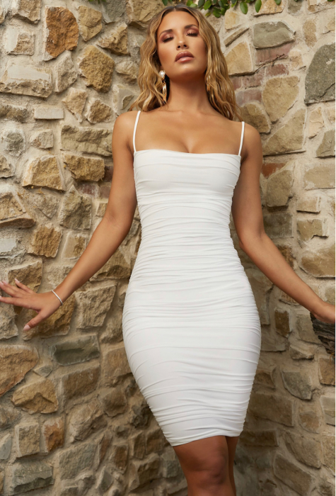 ROCHIE FIRST DATE RUCHED MESH BODYCON KNEE LENGTH 0