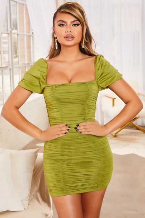 ROCHIE KNOW YOUR WORTH RUCHED BODYCON MINI 0