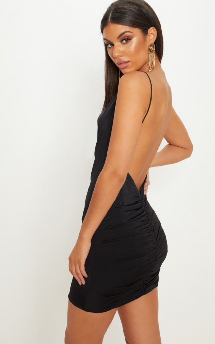 Rochie Black Slinky Cowl Neck Scoop Back Ruched [0]