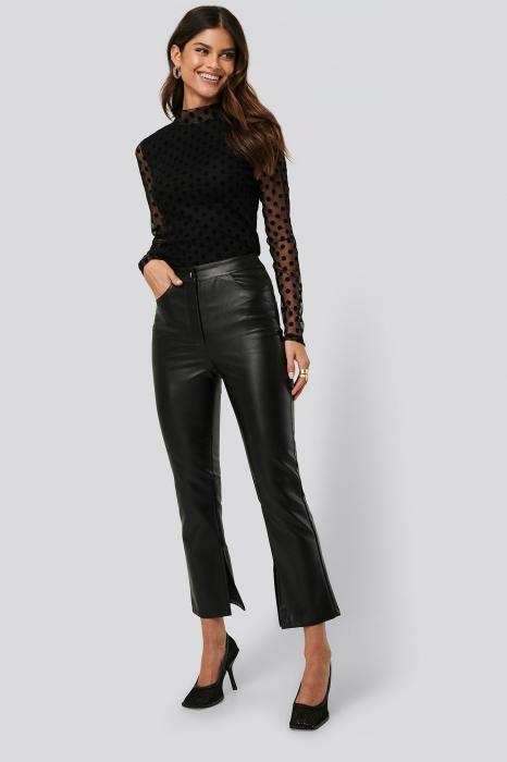 Pantaloni Side Slit Pu [0]