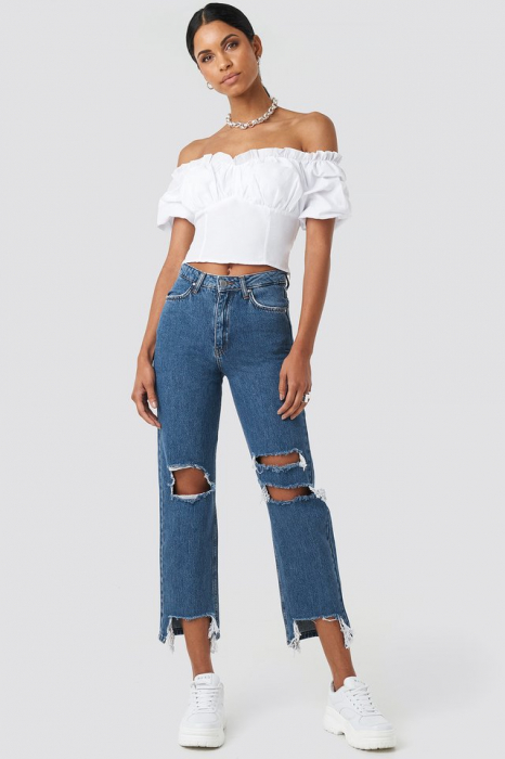 Top Off Shoulder Ruffle Cup Cropped 2