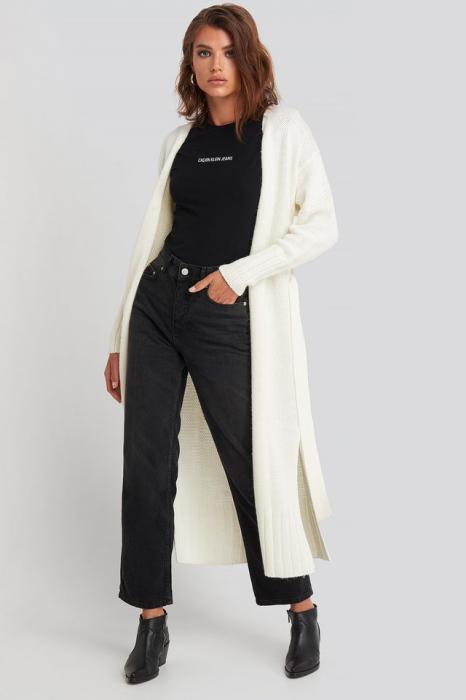 Belted Side Slits Long Cardigan [0]