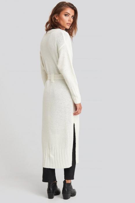 Belted Side Slits Long Cardigan [1]