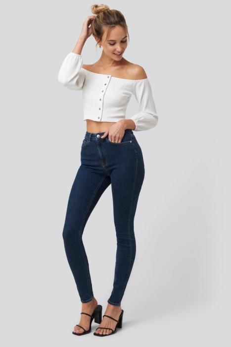 Bluza Puff Sleeve Button Up Crop Top 2