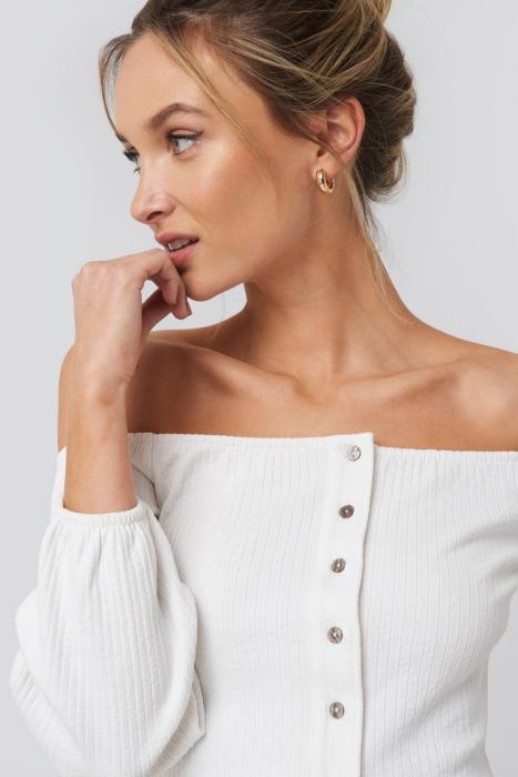 Bluza Puff Sleeve Button Up Crop Top 3
