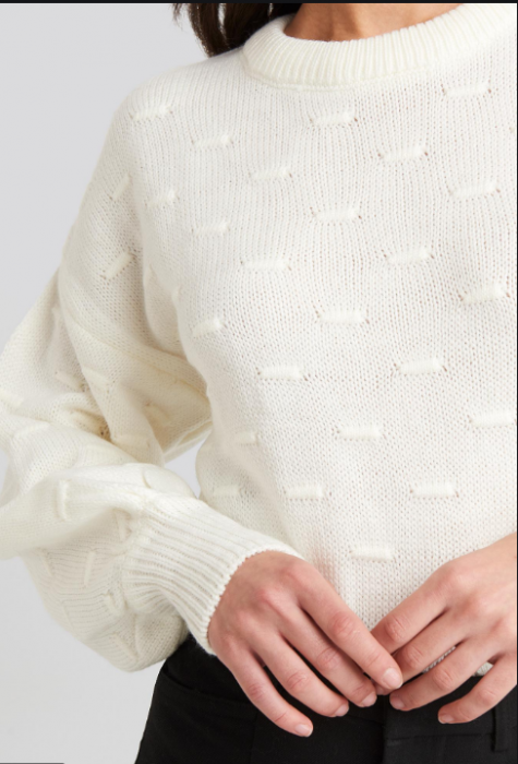 Pulover Bubble Stitch Balloon Sleeve Knitted [2]