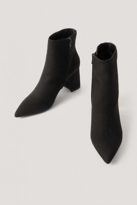 Botine Basic Slanted Heel Faux Suede [10]