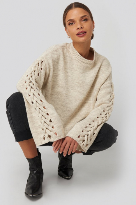 Pulover Detailed Sleeve Knitted 0