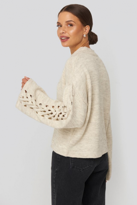 Pulover Detailed Sleeve Knitted 1