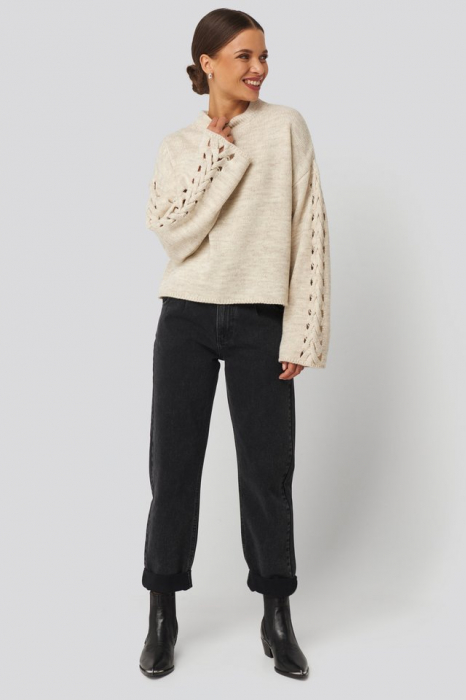 Pulover Detailed Sleeve Knitted 2