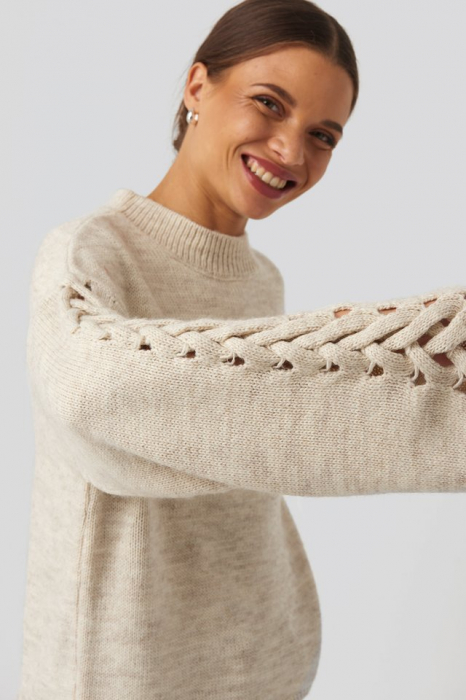 Pulover Detailed Sleeve Knitted 3