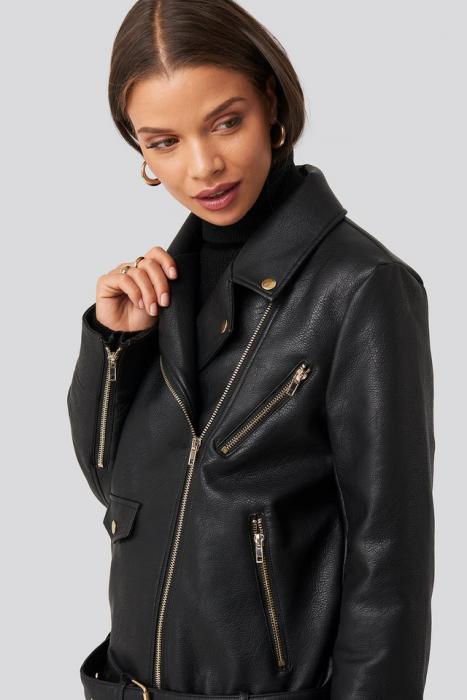 Jacheta Oversized Detail Faux Leather 4