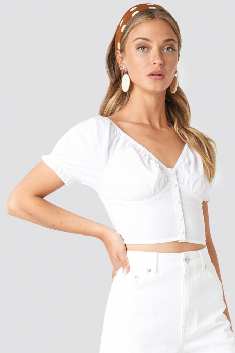 Cropped Fitted Button Top 0