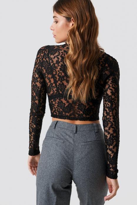 Bluza Cropped V-neck Lace Top 1