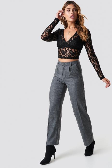 Bluza Cropped V-neck Lace Top 2