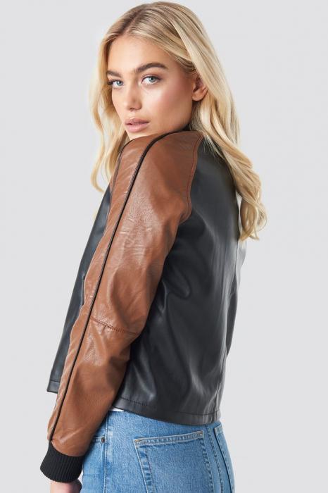 Geaca Contrast Sleeve PU Jacket [1]