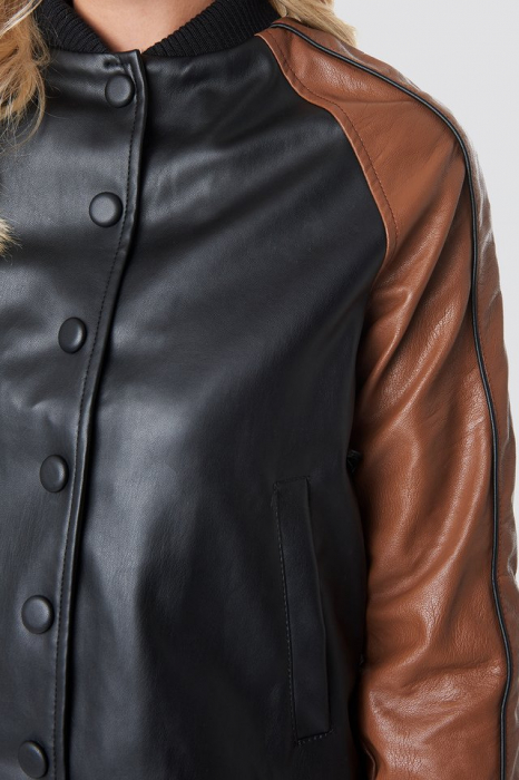 Geaca Contrast Sleeve PU Jacket [2]