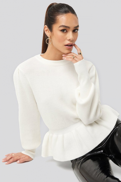 Pulover Balloon Sleeve Frilled Sweater 0