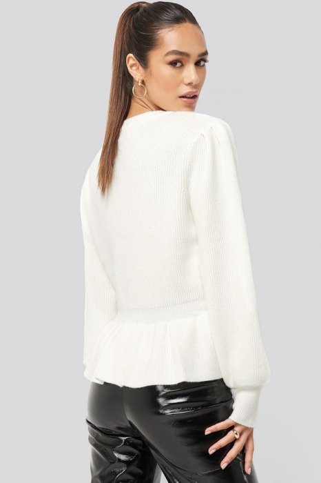 Pulover Balloon Sleeve Frilled Sweater 2