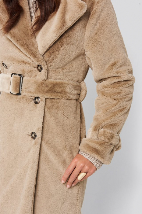 Haina Double Breasted Belted Faux Fur [3]