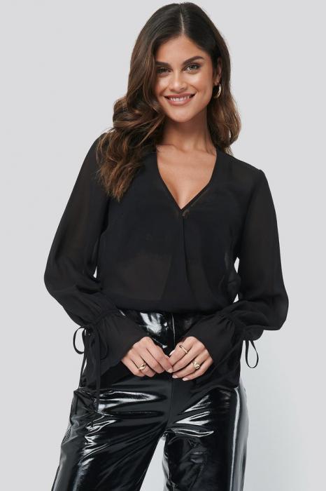 Top Bluza Sheer V-Neck 0